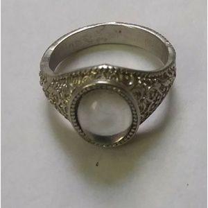 Silver Toned Gypsy Boho Silvery Stone Ring 8 9